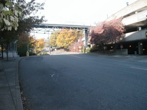 Gibbs Street at OHSU after exiting the Tram